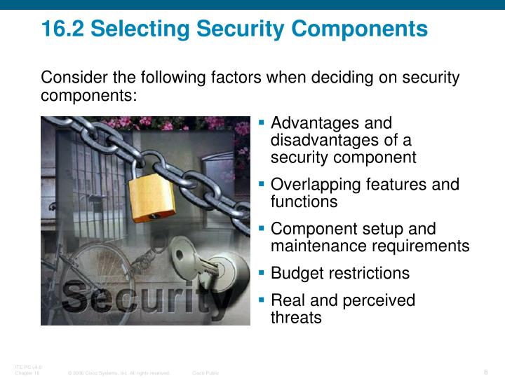 16.2 Selecting Security Components