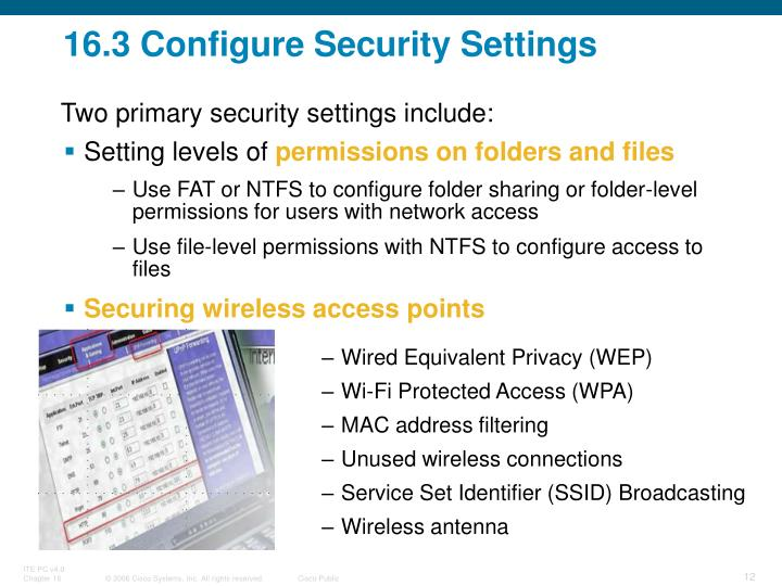 16.3 Configure Security Settings