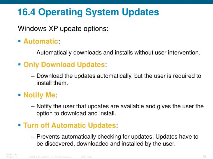16.4 Operating System Updates
