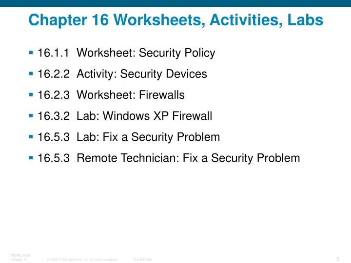 Chapter 16 Worksheets, Activities, Labs
