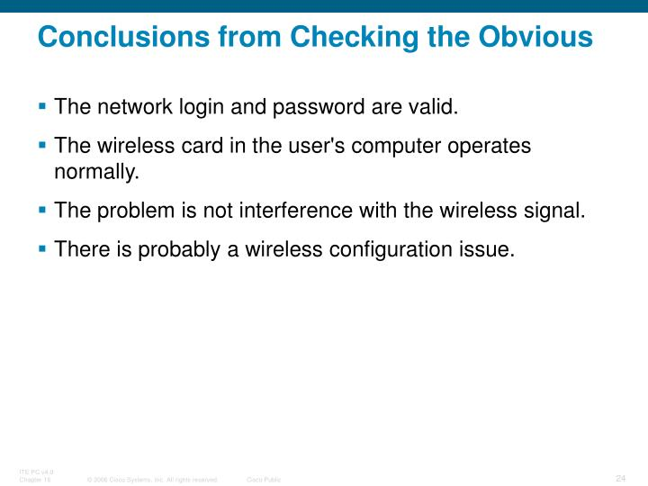 Conclusions from Checking the Obvious