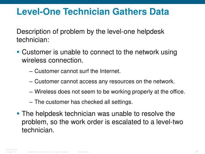 Level-One Technician Gathers Data