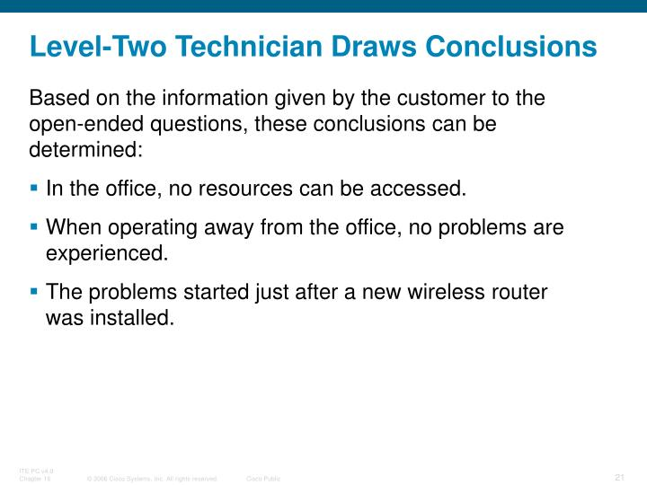 Level-Two Technician Draws Conclusions