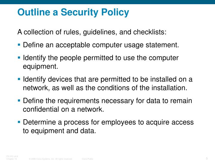 Outline a Security Policy