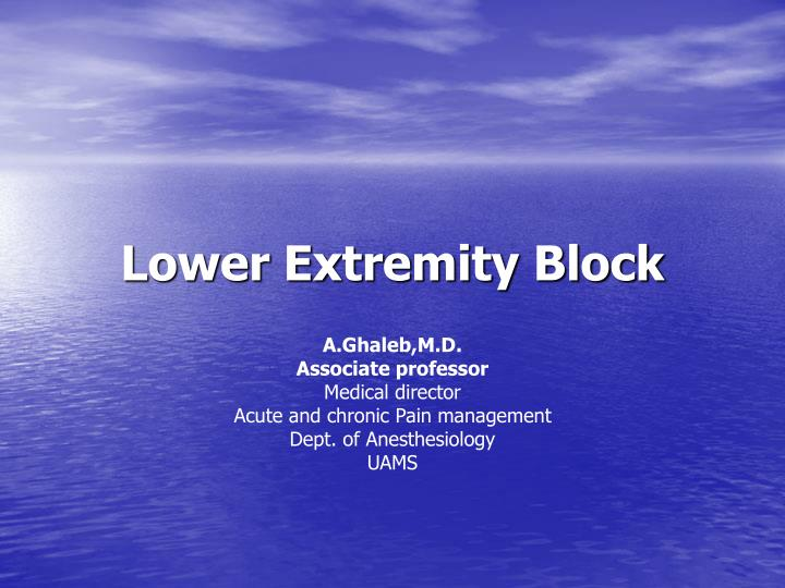 Lower extremity block