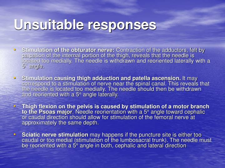 Unsuitable responses