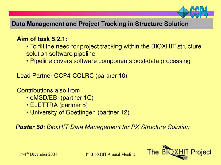 Data Management and Project Tracking in Structure Solution