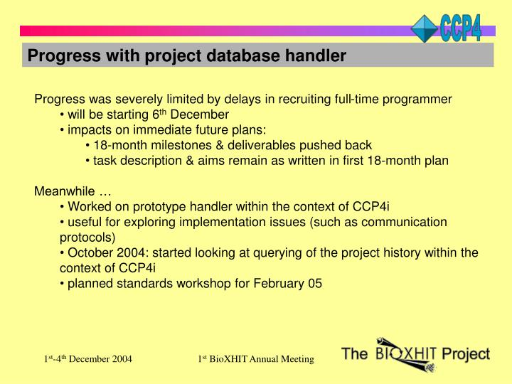 Progress with project database handler