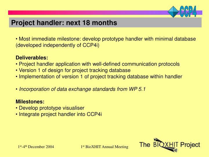 Project handler: next 18 months