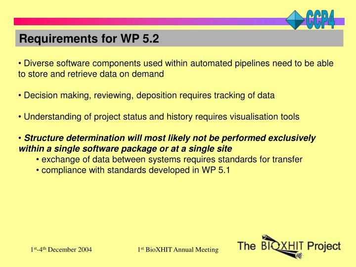 Requirements for WP 5.2