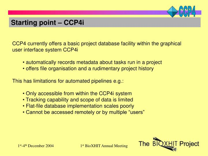 Starting point – CCP4i
