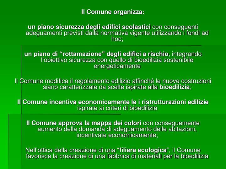 Il Comune organizza: