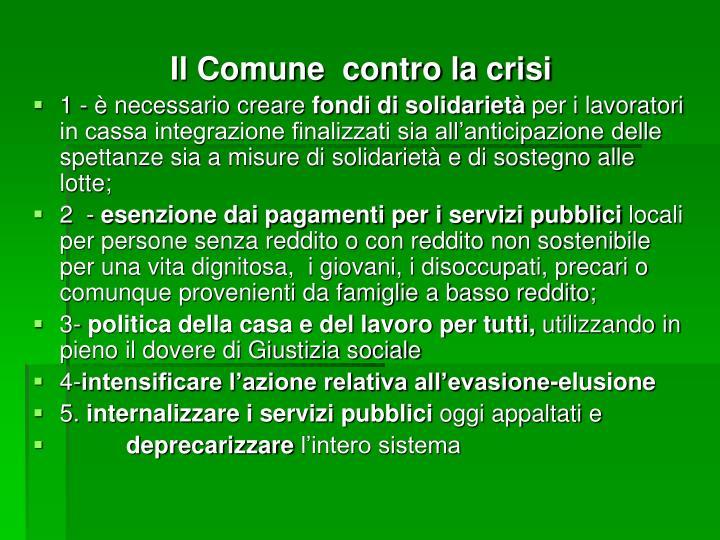 Il Comune  contro la crisi