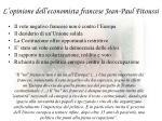l opinione dell economista francese jean paul fitoussi