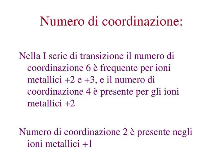 Numero di coordinazione:
