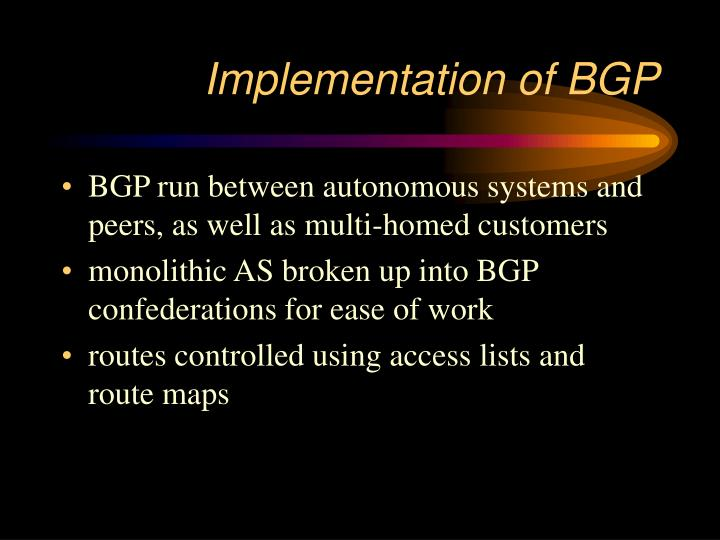 Implementation of BGP