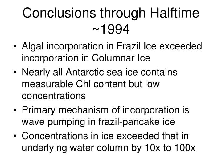 Conclusions through Halftime ~1994