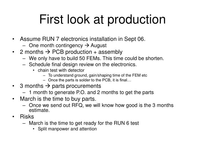 First look at production