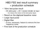 hbd fee test result summary production schedule