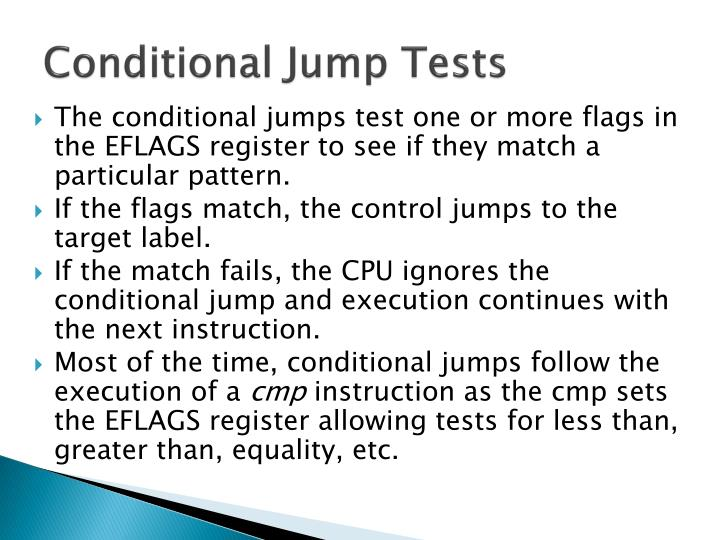 Conditional Jump Tests
