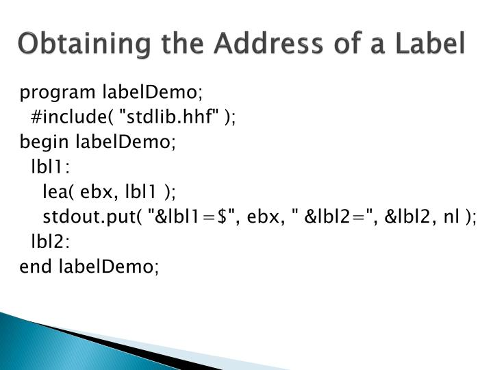 Obtaining the Address of a Label
