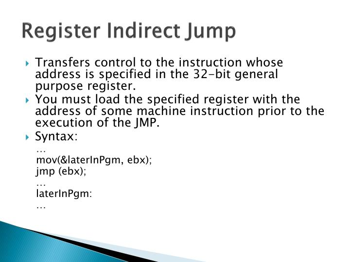 Register Indirect Jump