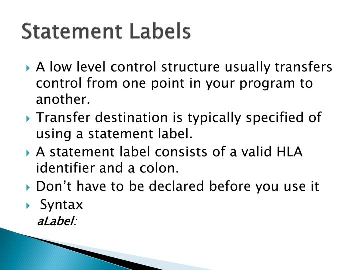 Statement Labels