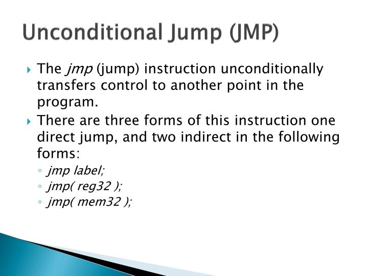 Unconditional Jump (JMP)