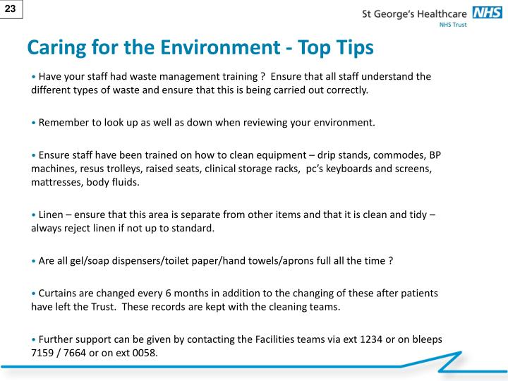 Caring for the Environment - Top Tips