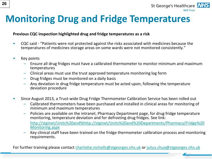 Monitoring Drug and Fridge Temperatures