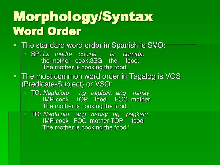 Morphology/Syntax