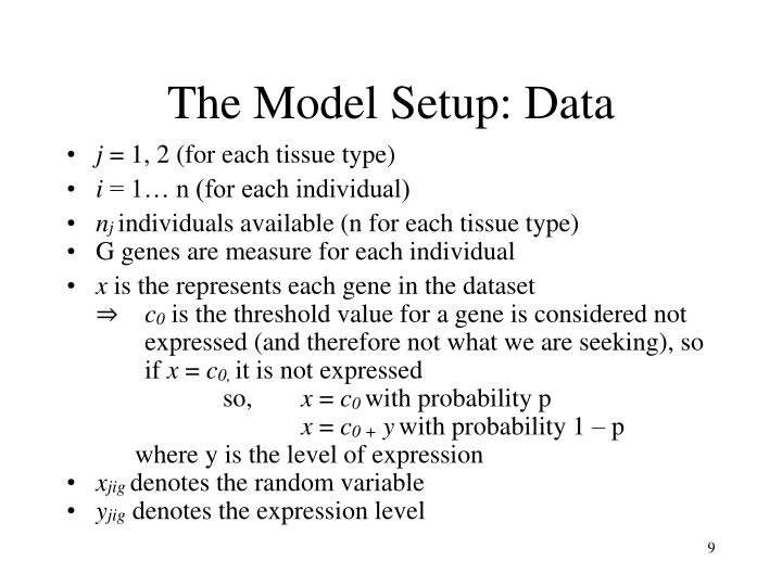 The Model Setup: Data