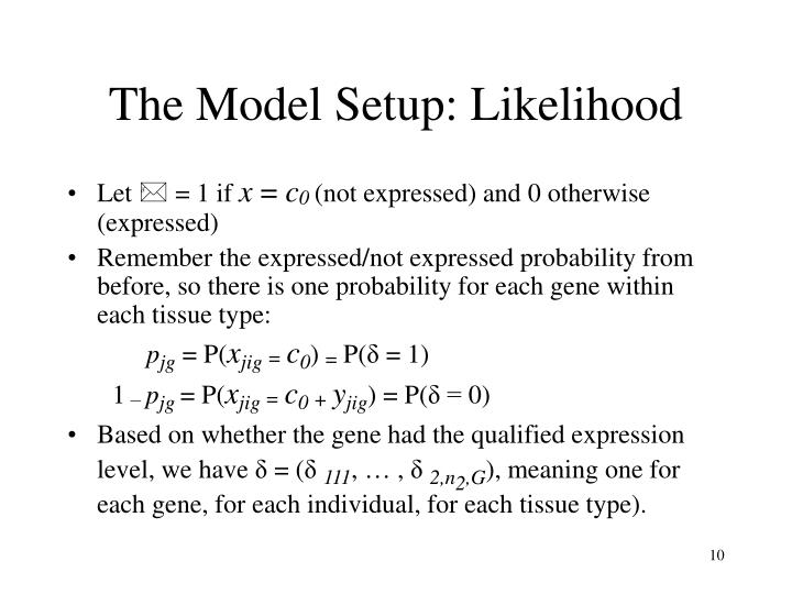 The Model Setup: Likelihood