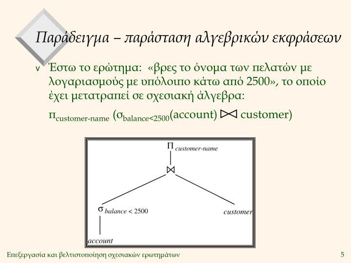 Παράδειγμα – παράσταση αλγεβρικών εκφράσεων