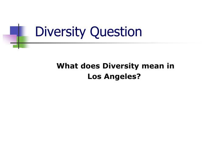 Diversity Question