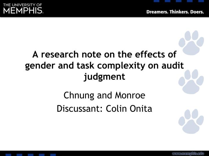 A research note on the effects of gender and task complexity on audit judgment