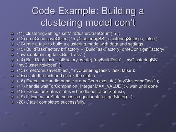 Code Example: Building a clustering model con't