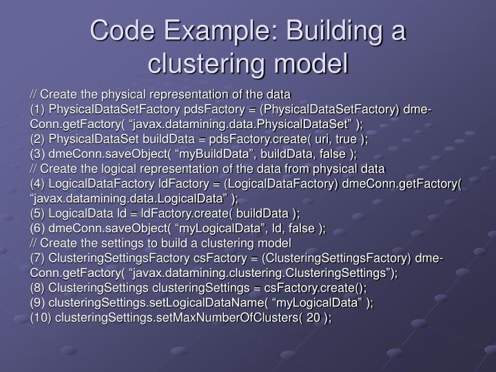 Code Example: Building a clustering model