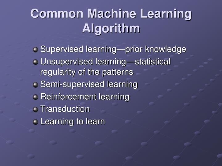 Common Machine Learning Algorithm