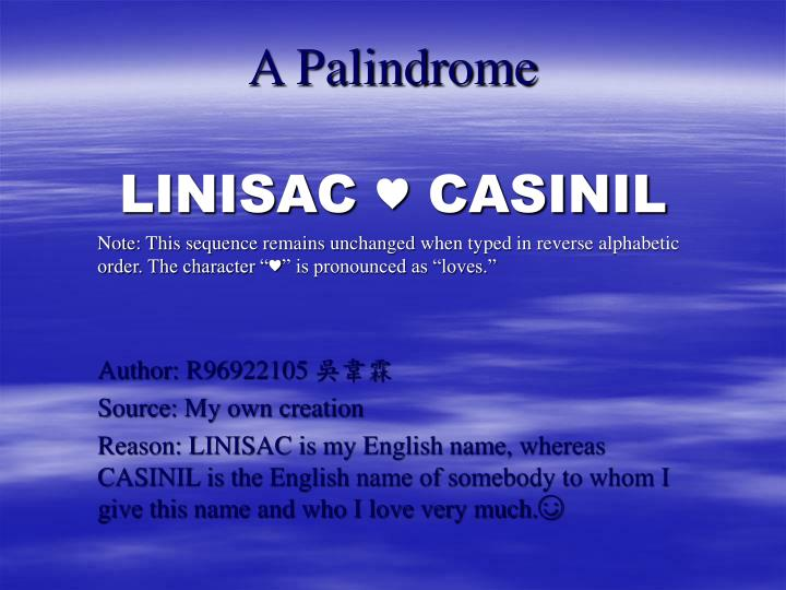 A Palindrome