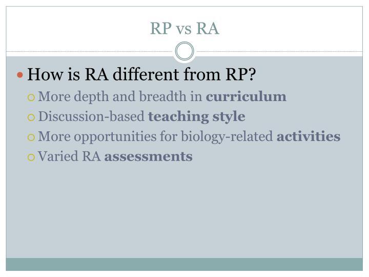 RP vs RA