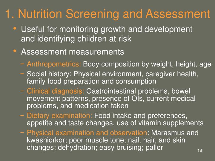 1. Nutrition Screening and Assessment