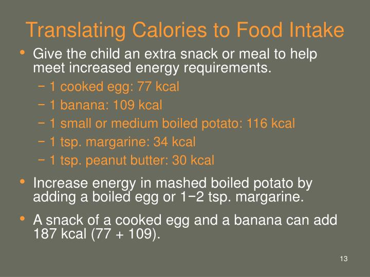 Translating Calories to Food Intake