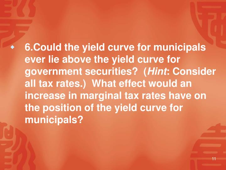 6.Could the yield curve for municipals ever lie above the yield curve for government securities?  (