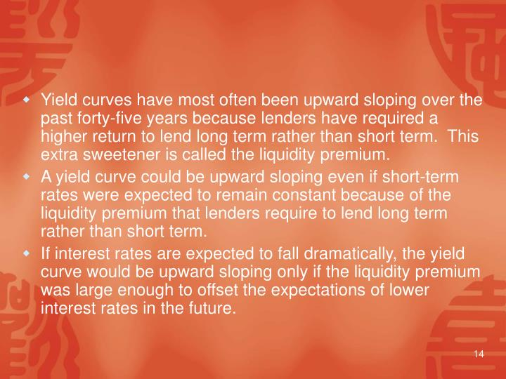 Yield curves have most often been upward sloping over the past forty‑five years because lenders have required a higher return to lend long term rather than short term.  This extra sweetener is called the liquidity premium.
