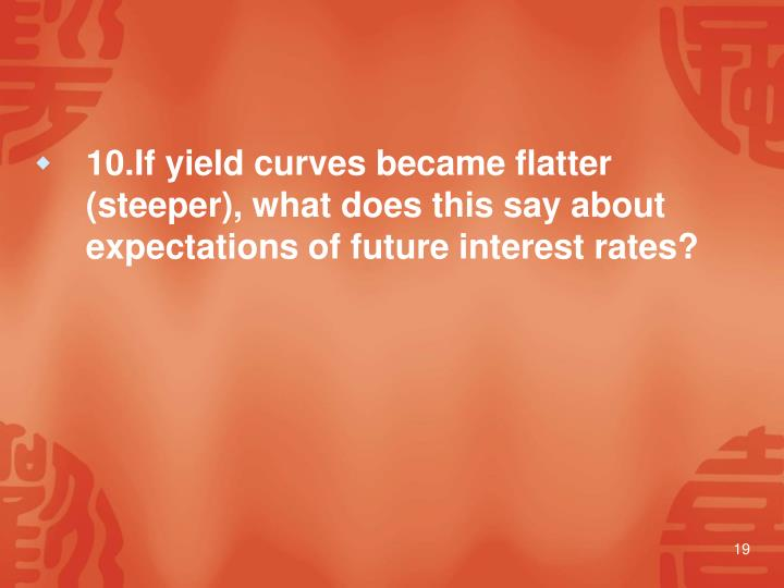 10.If yield curves became flatter (steeper), what does this say about expectations of future interest rates?