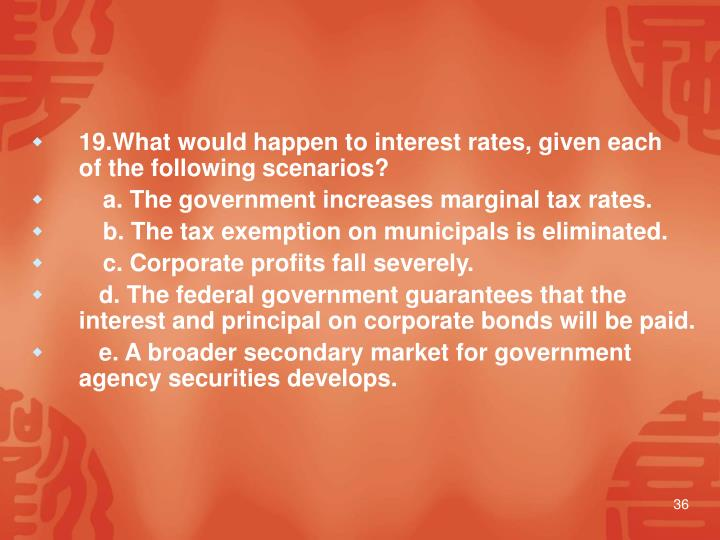 19.What would happen to interest rates, given each of the following scenarios?