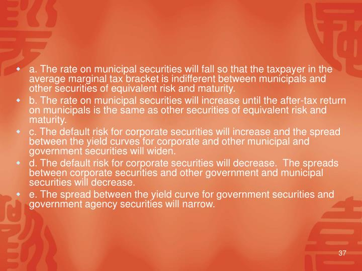 a. The rate on municipal securities will fall so that the taxpayer in the average marginal tax bracket is indifferent between municipals and other securities of equivalent risk and maturity.