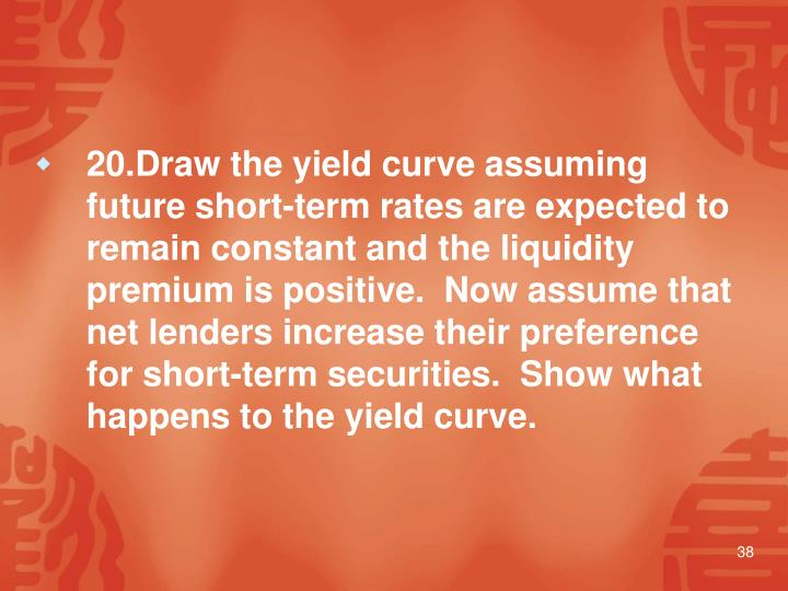20.Draw the yield curve assuming future short-term rates are expected to remain constant and the liquidity premium is positive.  Now assume that net lenders increase their preference for short-term securities.  Show what happens to the yield curve.
