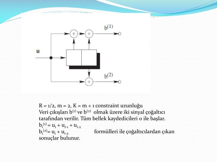 R = 1/2, m = 2, K = m + 1 constraint uzunluğu